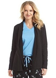 HUE® Knit Draped Front Wrap - Black