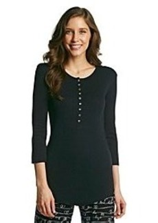 HUE® Knit Henley Top - Black