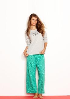 HUE Knit Sequin Top and Pajama Pants Set