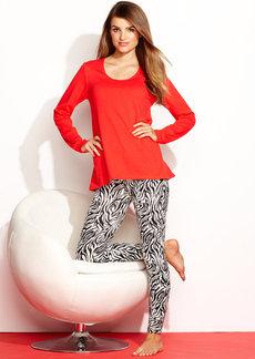 HUE Knit Top and Leggings Pajama Pants Set