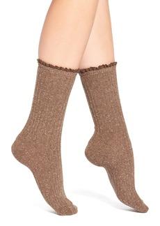 Hue Lace Cuff Crew Socks