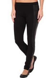 HUE Leatherette-Blocked Ponte Leggings