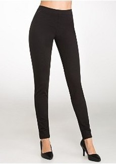 HUE Leatherette Piping Ponte Knit Leggings