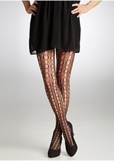 HUE Linear Diamond Net Tights