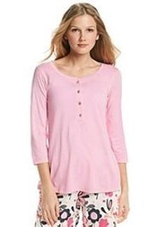 HUE® Mid-Length Sleeve Henley Pajama Top - Pink