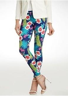 HUE Original Jeans Hibiscus Leggings