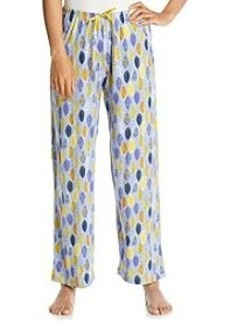 HUE® Peri/Multi Knit Pants - Blue Leaves