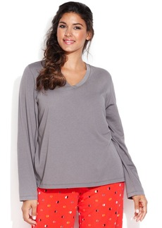 HUE Plus Size Long Sleeve V-Neck Top