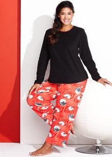 HUE Plus Size Microfleece Top and Pajama Pants Set