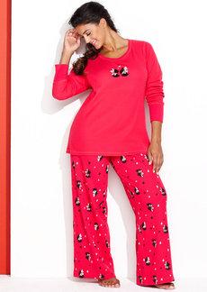 HUE Plus Size Thermal Top and Pajama Pants Set