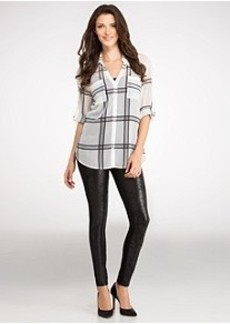 HUE Ponte Distressed Blocked Leggings