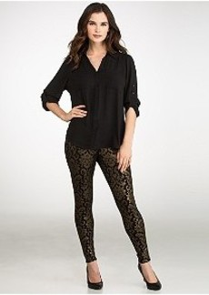 HUE Ponte Knit Baroque Foil Print Leggings