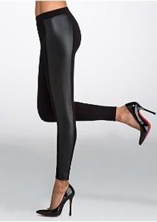 HUE Ponte Knit Leatherette Blocked Leggings