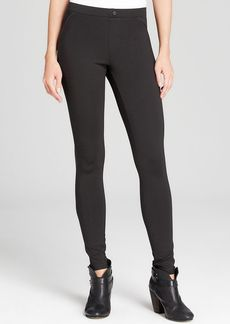 HUE Ponte Legging with Leatherette Piping