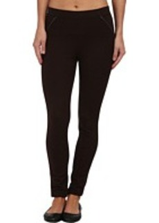 HUE Ponte Leggings with Leatherette Piping