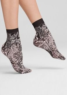HUE Printed Lace Shortie Socks