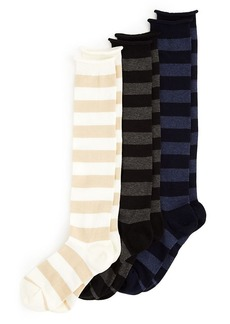 HUE Roll Top Striped Knee Socks