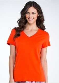 HUE Solid V-Neck Knit Sleep Tee