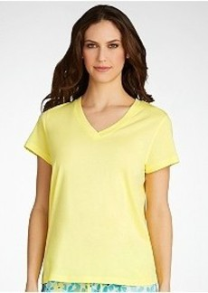 HUE Solid V-Neck Sleep Tee Plus Size