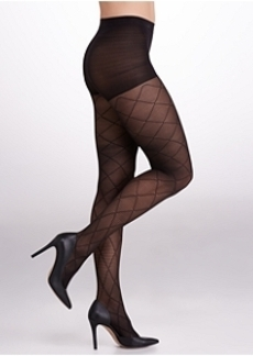 HUE Striped Diamond Control Top Tights