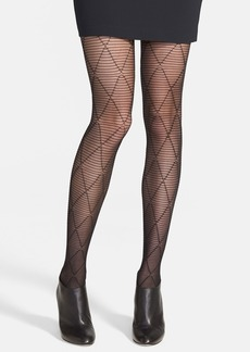 Hue 'Striped Diamond' Control Top Tights