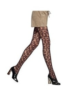 HUE® Textured Floral Tights with Control Top - Black