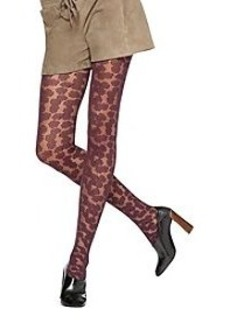 HUE® Textured Floral Tights with Control Top - Fig