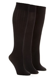 HUE Textured Opaque Knee High Socks 3-Pack