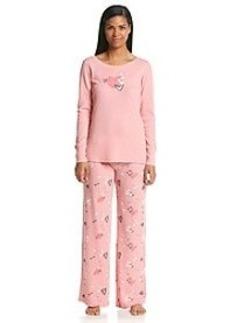 HUE® Thermal Knit Love Pajama Set