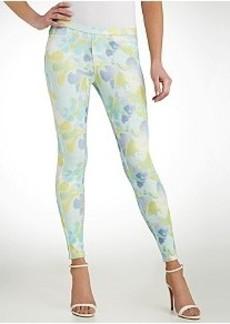 HUE Watercolor Floral Jeans Leggings