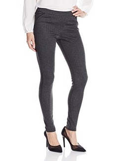 Hue Women's Herringbone Ponte Leggings With Leatherette Piping