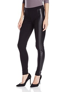Hue Women's Leatherette-Blocked Ponte Leggings