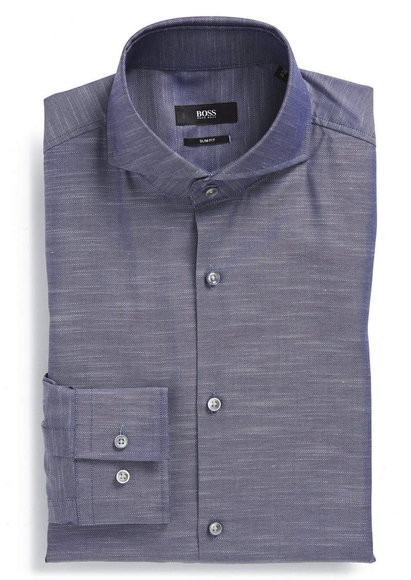 Hugo boss boss 39 dwayne 39 ww slim fit solid dress shirt for Hugo boss slim fit dress shirt