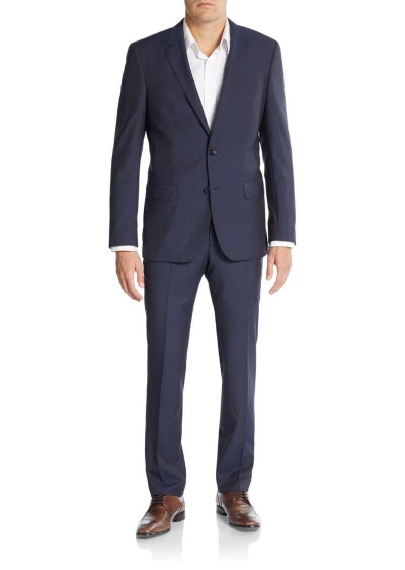 hugo boss boss hugo boss huge genius regular fit micro check virgin wool suit suits shop it. Black Bedroom Furniture Sets. Home Design Ideas