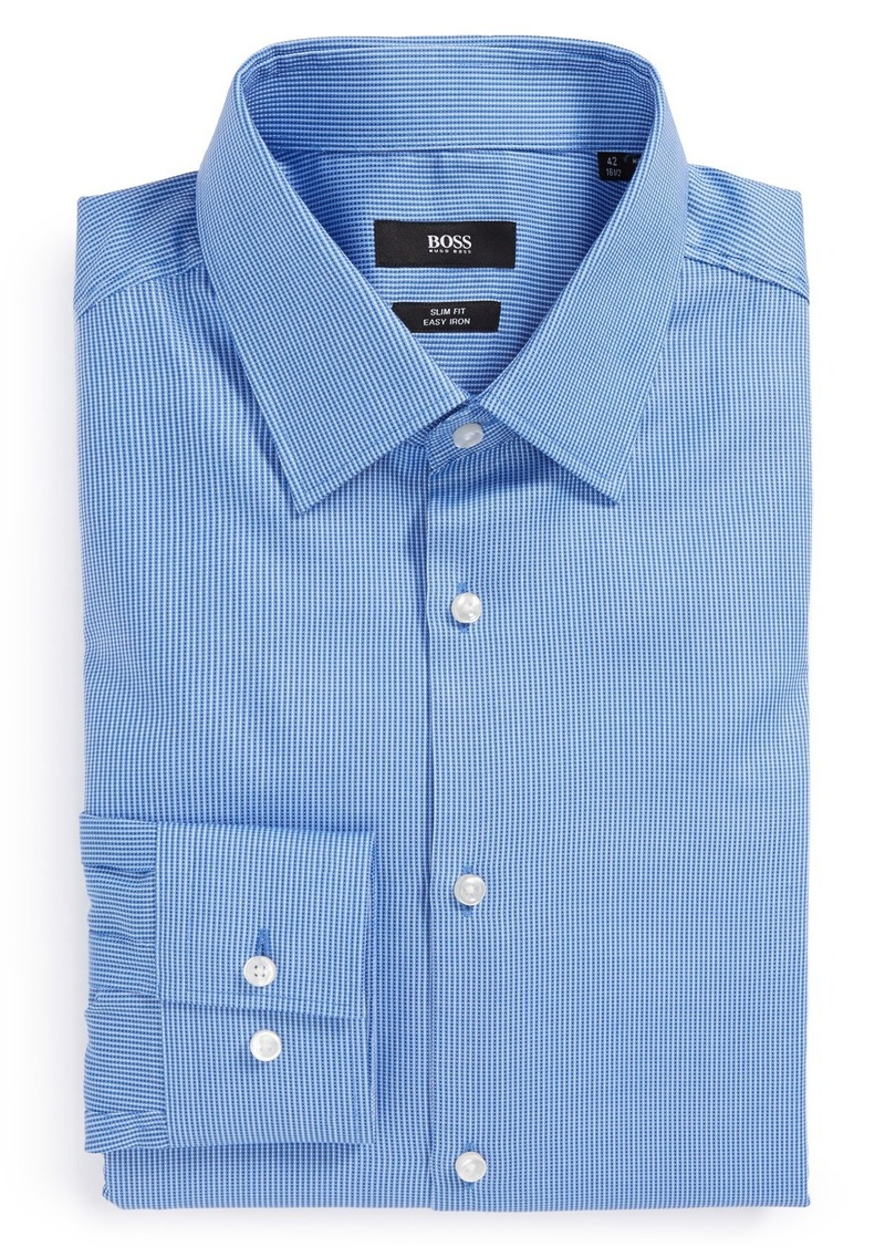 Hugo boss boss 39 jacob 39 ww slim fit easy iron dot dress for Hugo boss slim fit dress shirt