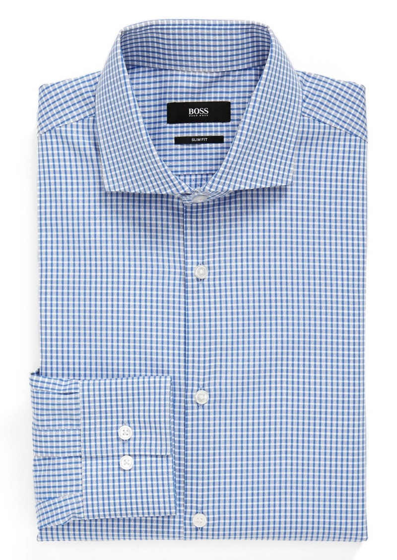 Hugo boss boss 39 jason 39 slim fit check dress shirt dress for Hugo boss jason shirt