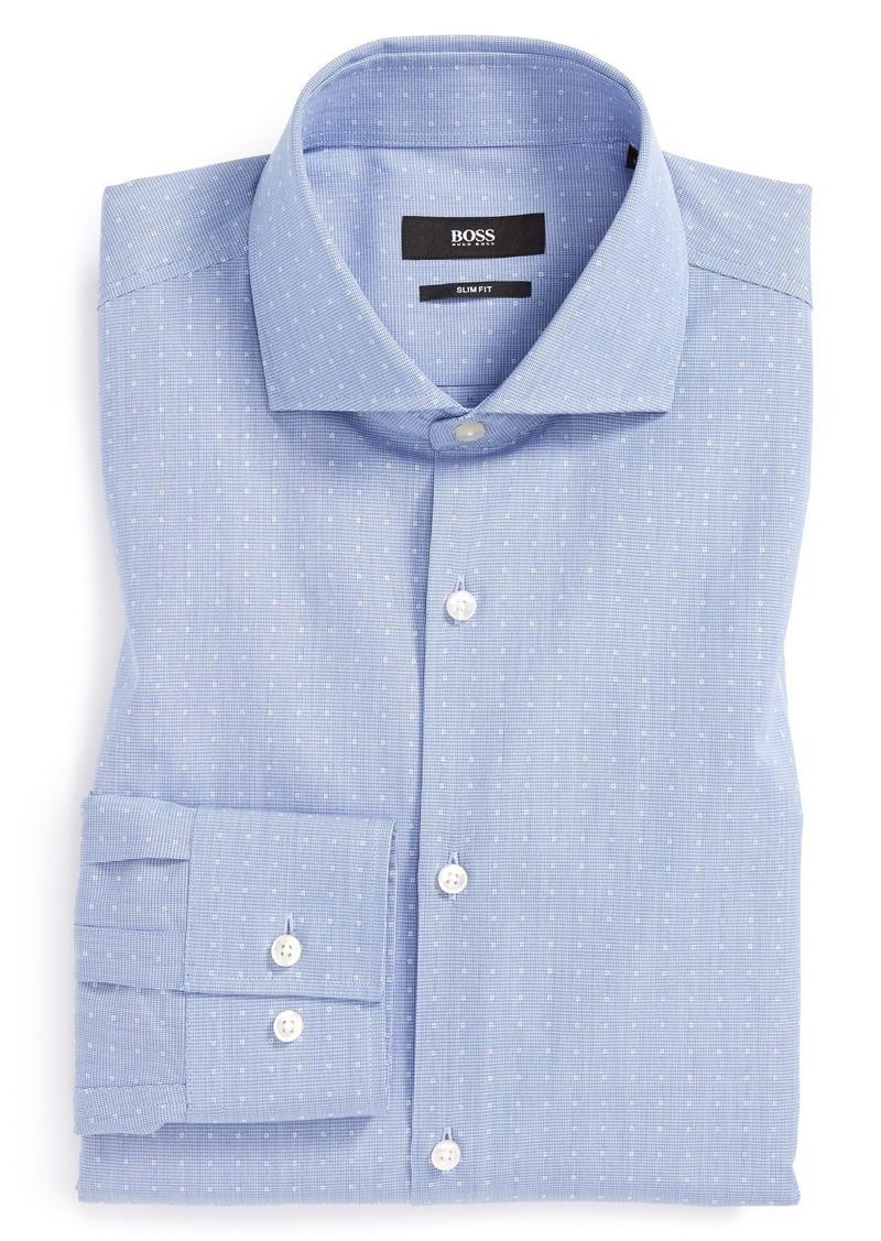 Hugo boss boss 39 jason 39 slim fit dot dress shirt dress for Hugo boss jason shirt