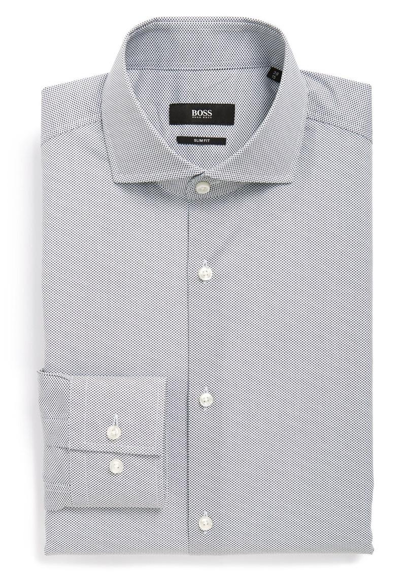 Hugo boss boss 39 jason 39 ww slim fit print dress shirt for Hugo boss slim fit dress shirt