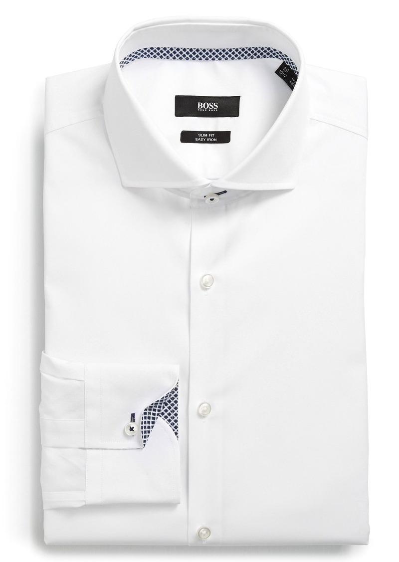 Hugo boss boss 39 jery 39 ww slim fit easy iron dress shirt for Hugo boss slim fit dress shirt