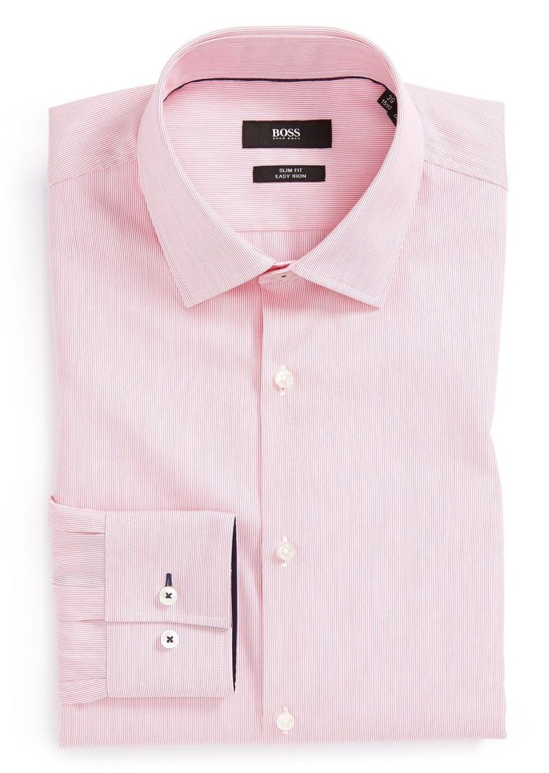 Hugo boss boss 39 joey 39 slim fit easy iron stripe dress for Hugo boss dress shirt review