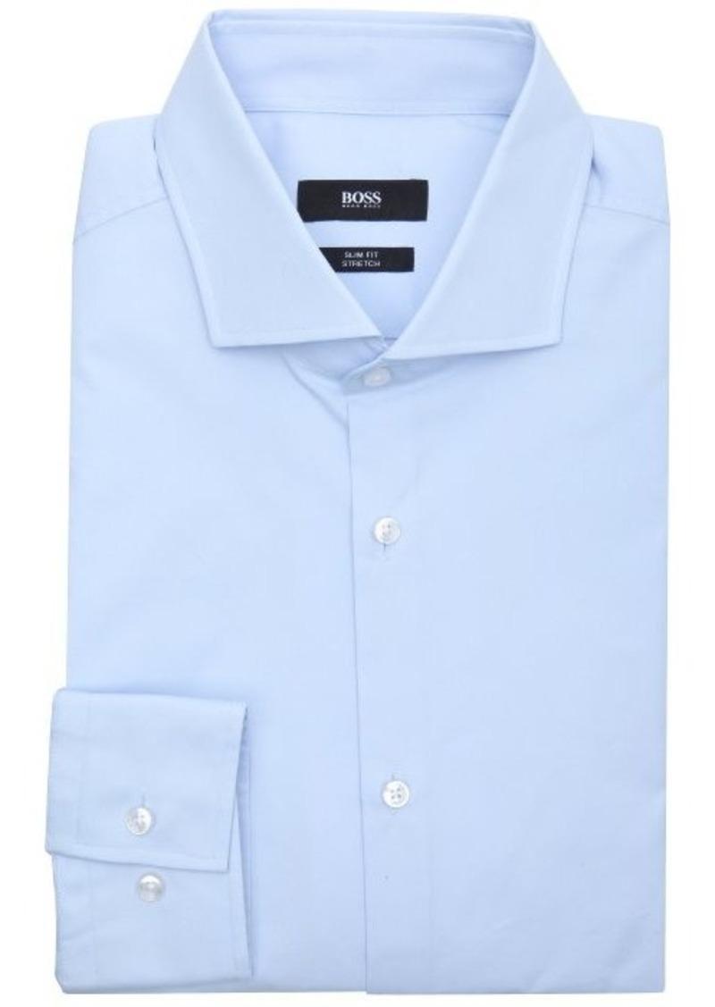 Hugo boss hugo boss blue stretch cotton blend 39 jason for Hugo boss jason shirt