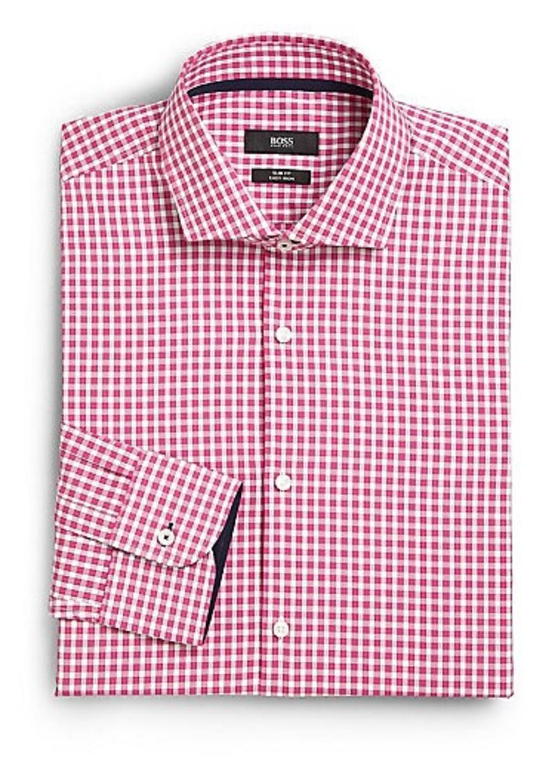 Hugo boss hugo boss slim fit gingham dress shirt dress for Hugo boss slim fit dress shirt