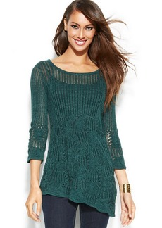 INC International Concepts Asymmetrical Pointelle Sweater