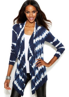 INC International Concepts Asymmetrical Tie-Dye Cardigan