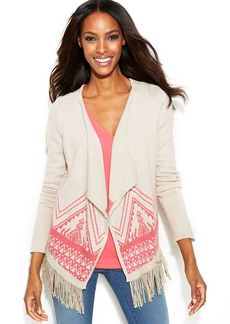 INC International Concepts Aztec-Knit Fringed Sweater