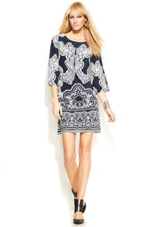 INC International Concepts Bell-Sleeve Printed Dress