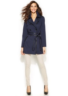 INC International Concepts Belted Faux-Leather-Trim Trench Coat