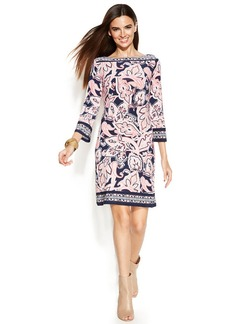 INC International Concepts Boat-Neck Printed Shift Dress
