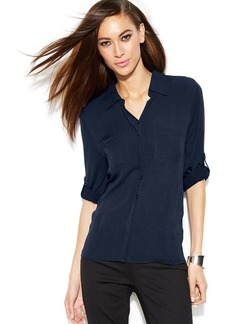INC International Concepts Petite Button-Front Roll-Tab-Sleeve Shirt
