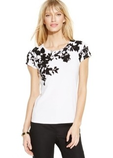 INC International Concepts Cap-Sleeve Floral-Applique Sweater
